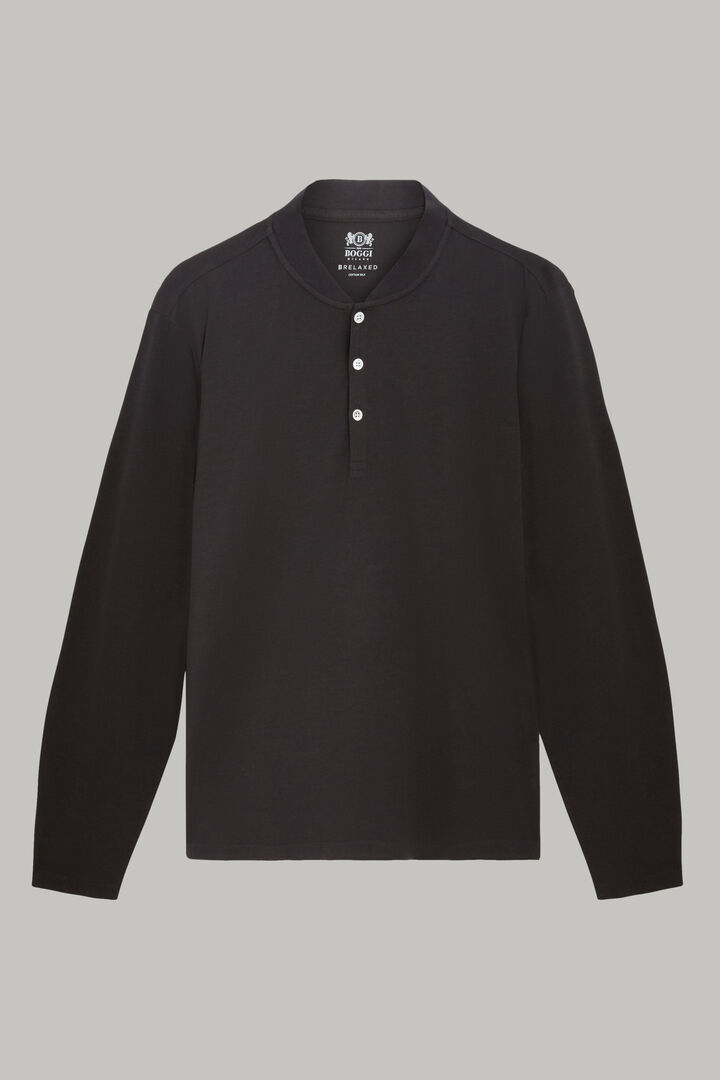 T-Shirt À Manches Longues En Jersey De Coton, Noir, hi-res
