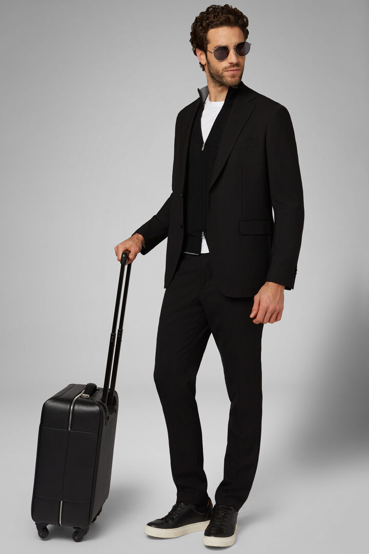 Black Travel Wool Capri Blazer, Black, hi-res