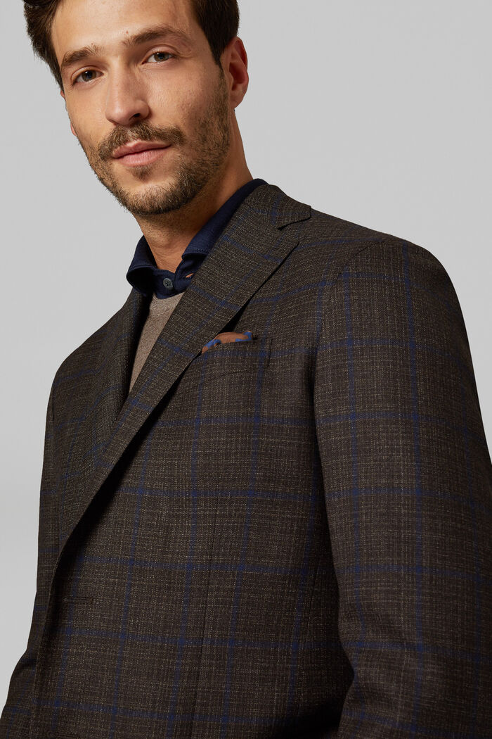Dark Brown Wool Roma Blazer, , hi-res