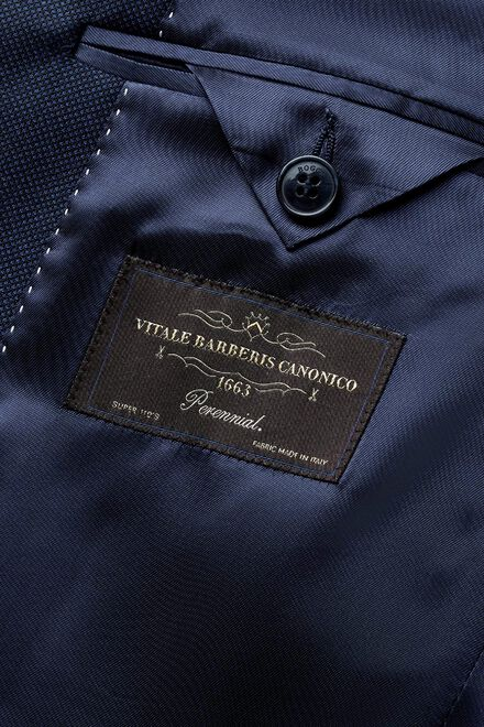 Blaue jacke aus super-110-wolle mit pfauenaugenmuster, Bluette, hi-res