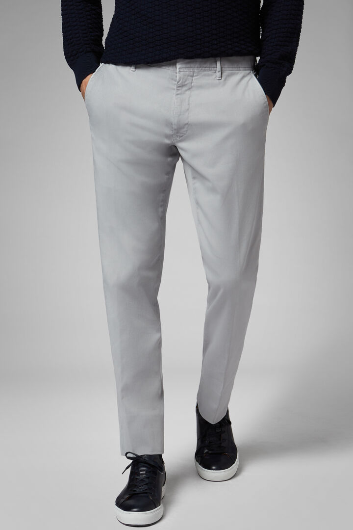 Regular Fit Cotton Gabardine/Tencel Trousers, Grey, hi-res