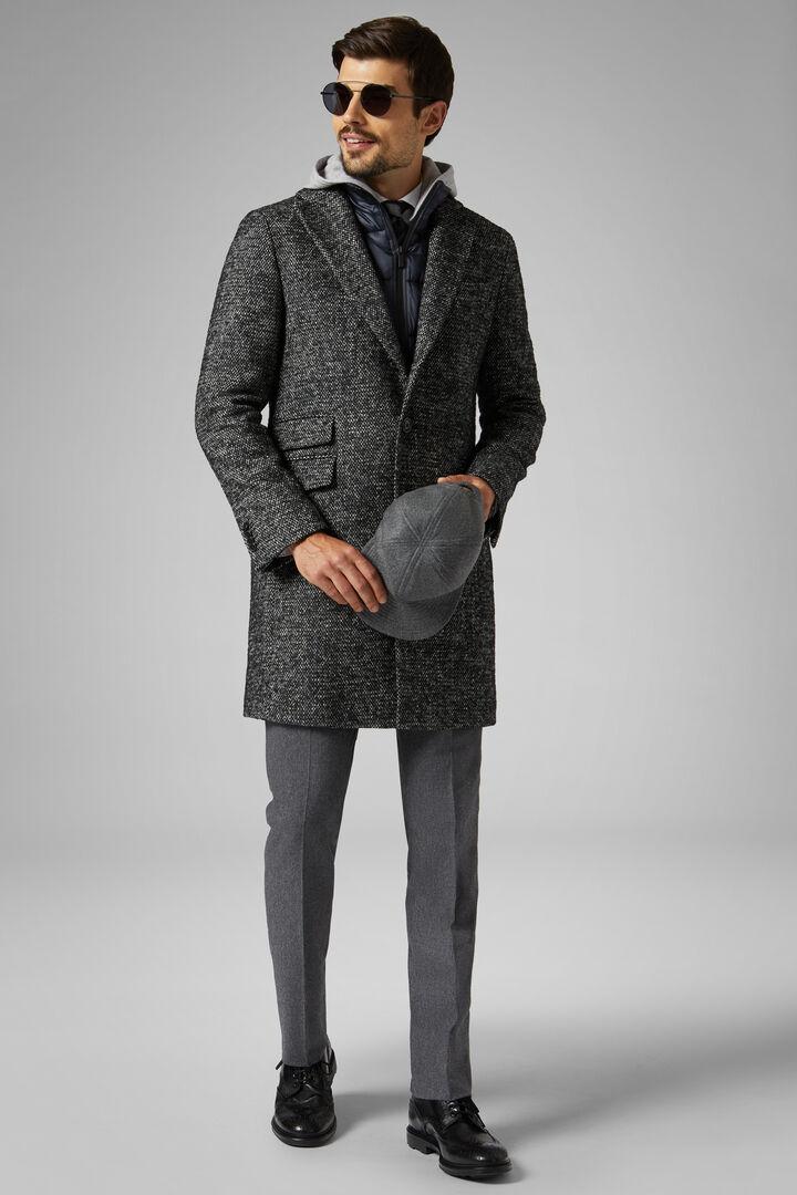 Bouclé Wool Coat With Bib, Grey, hi-res