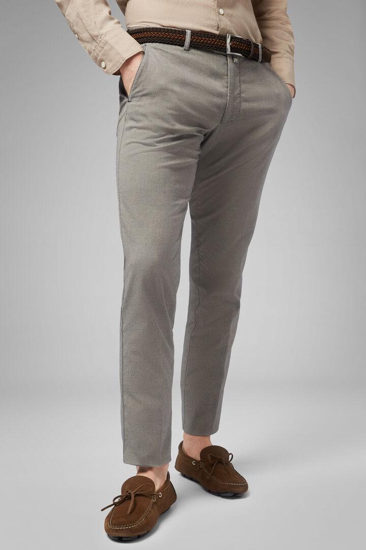Slim Fit Stretch Microstructure Cotton Trousers, Beige, hi-res