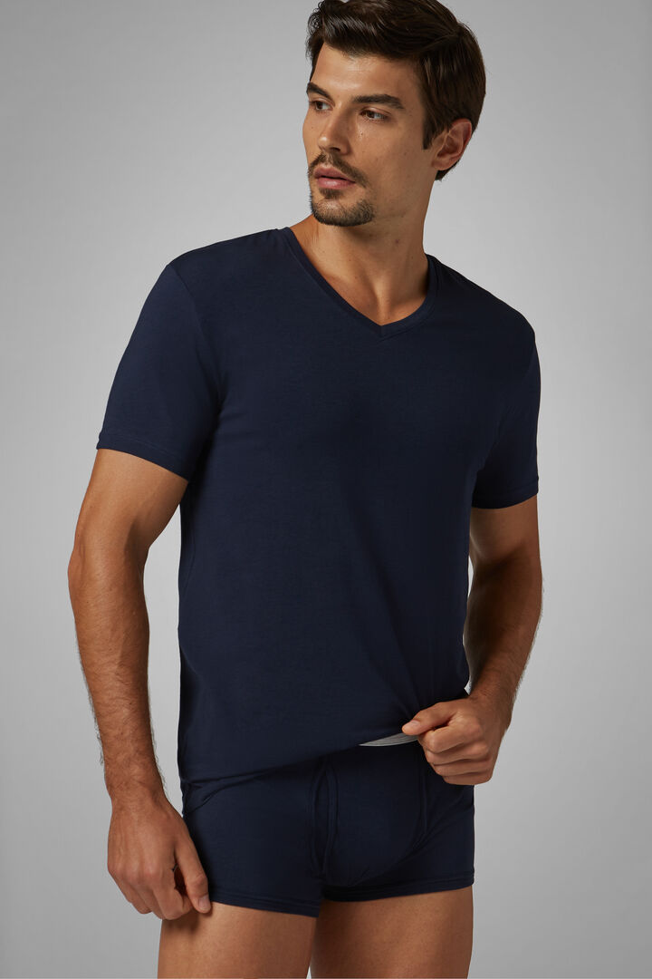Navy Blue Stretch Cotton Undershirt, Navy blue, hi-res