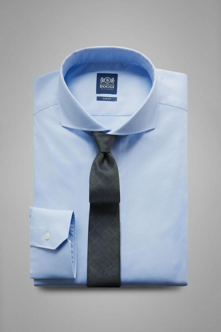 Chemise En Sergé Bleu Ciel À Col Napolitain Coupe Ajustée, Bleu clair, hi-res