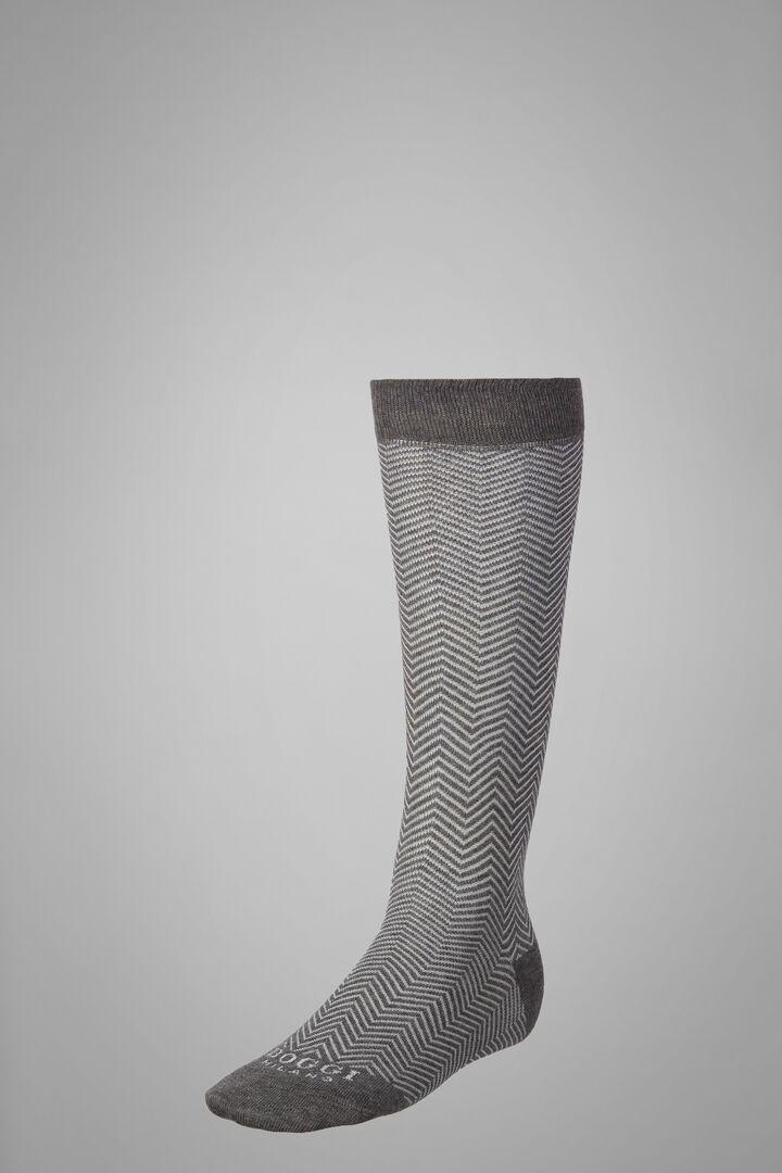 Long Socks With Macro Herringbone Motif, Grey - White, hi-res