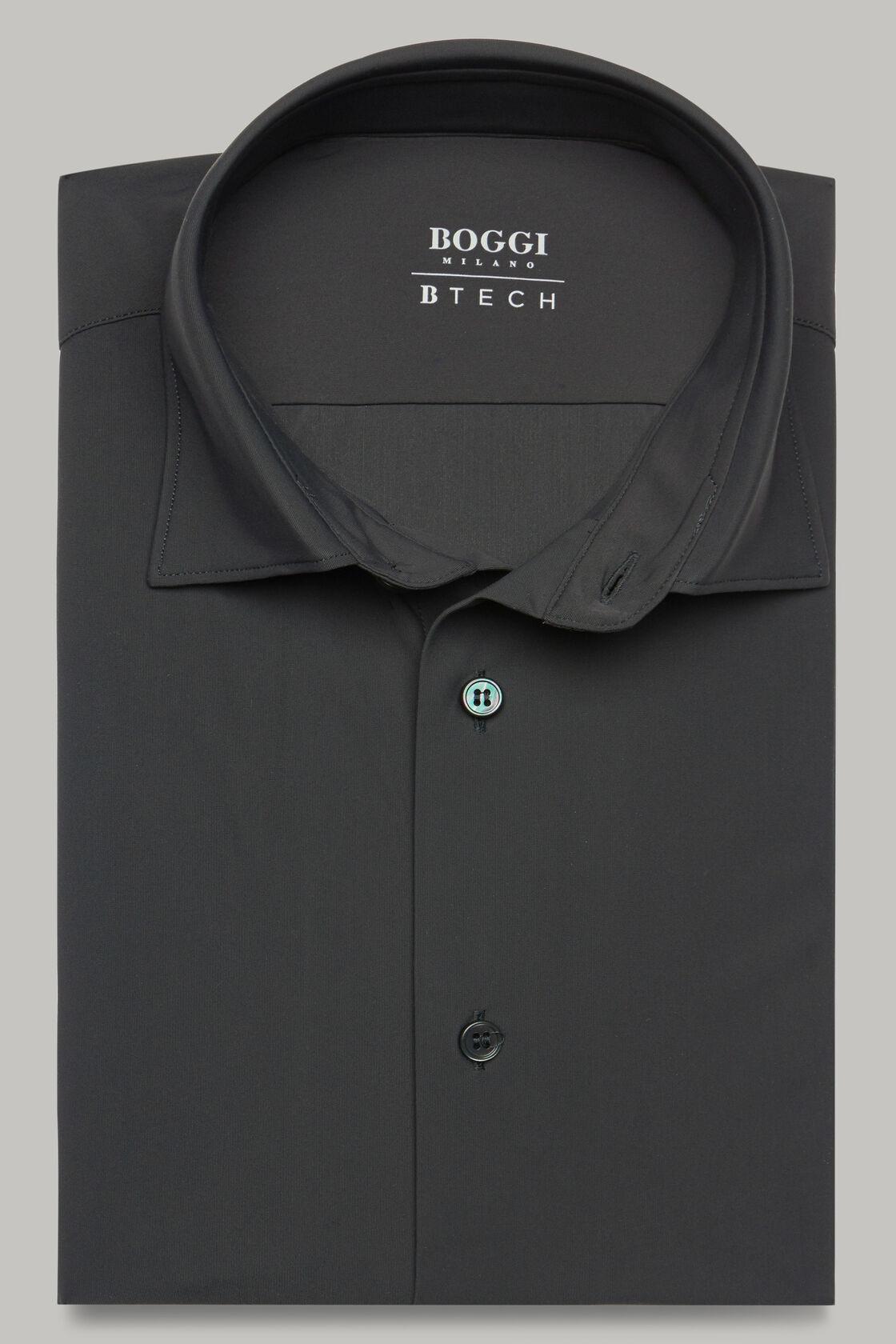 Anthrazitfarbenes hemd mit tokyo- kragen aus elastischem nylon slim fit, Holzkohle, hi-res