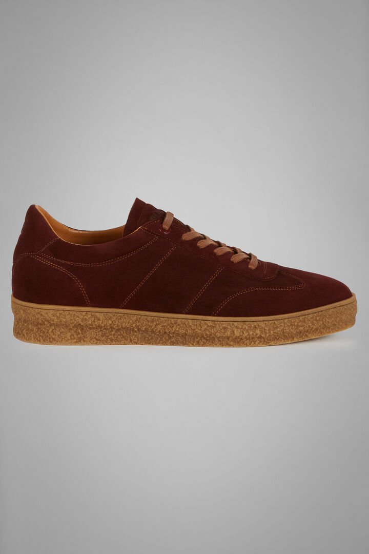 Suede Trainers With Textured Soles, Burgundy, hi-res