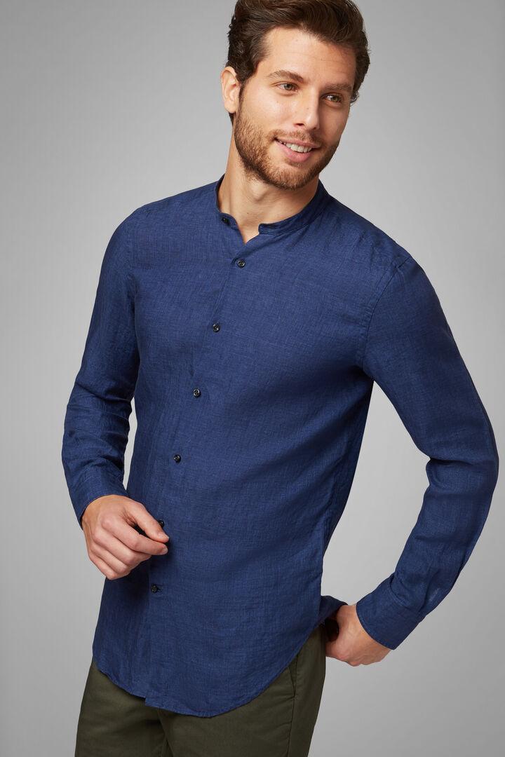 Camicia Blu Collo Coreano Regular Fit, Navy, hi-res