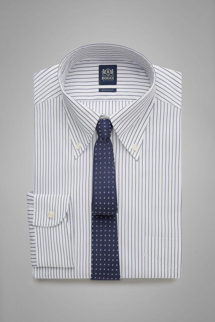 Camicia A Righe Blu Collo Boston Regular Fit, Bianco - Navy, hi-res