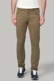 Jeans in cotone tencel elasticizzato beige, Verde, hi-res