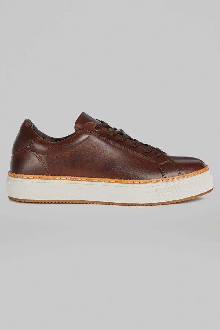 Sneakers En Cuir Lisse, Marron foncé, hi-res