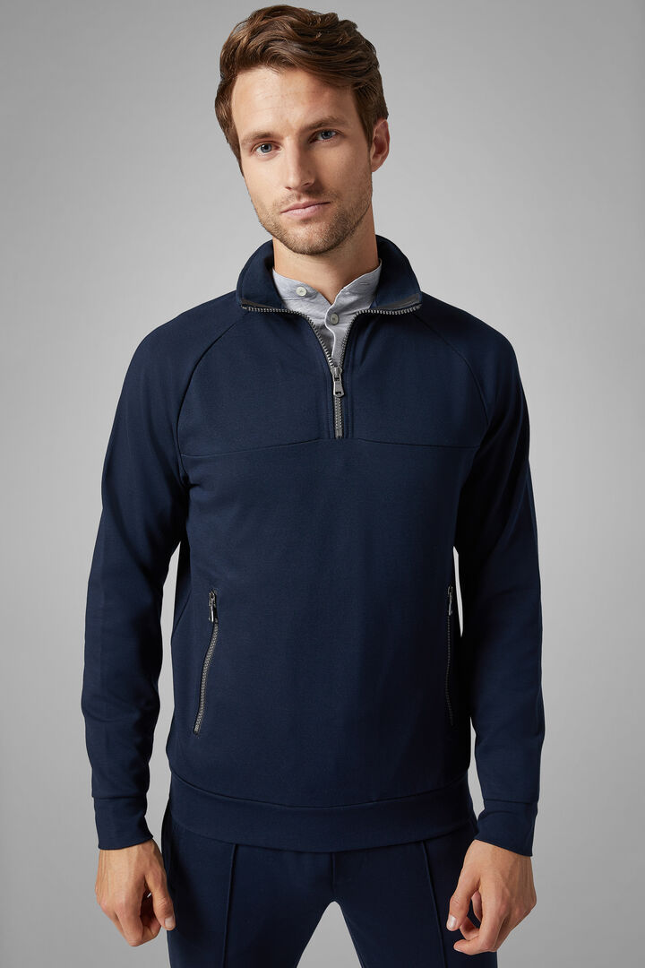 Cotton Blend Half Zip Sweatshirt, Navy blue, hi-res