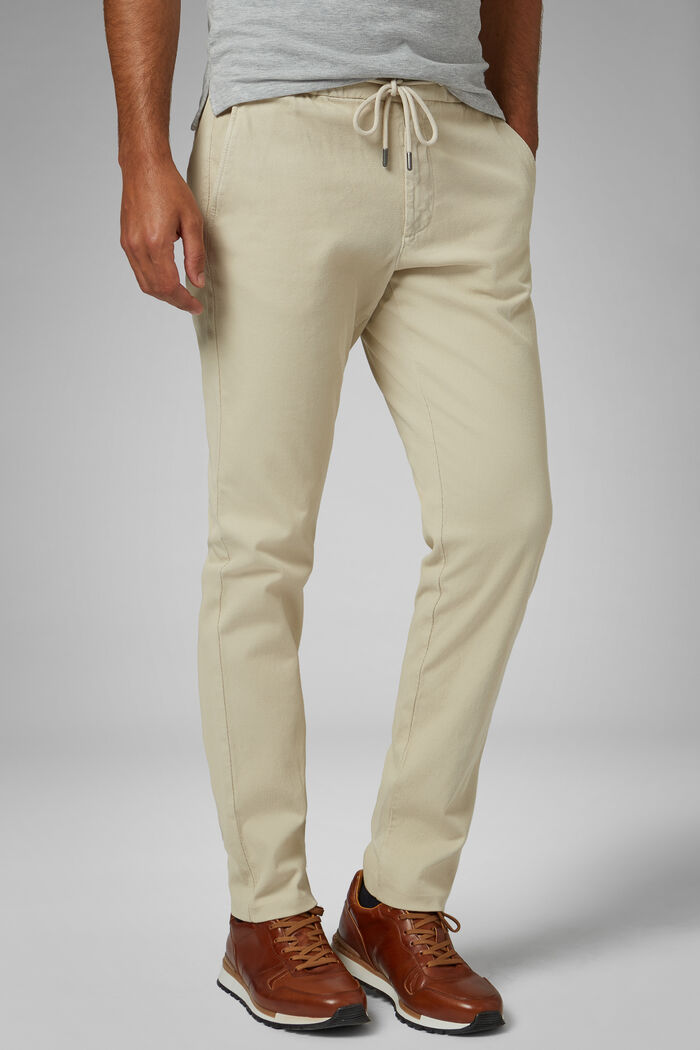 Pantalone In Cotone Stretch Con Coulisse Slim, , hi-res