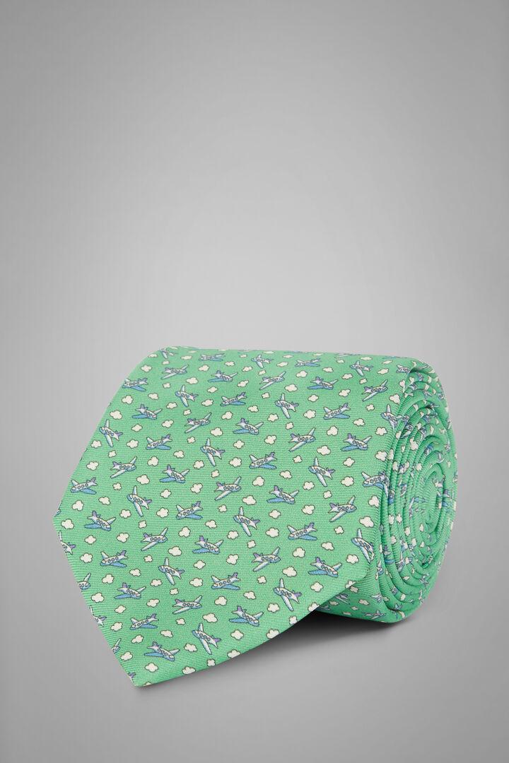 Aeroplane Print Silk Tie, Green, hi-res