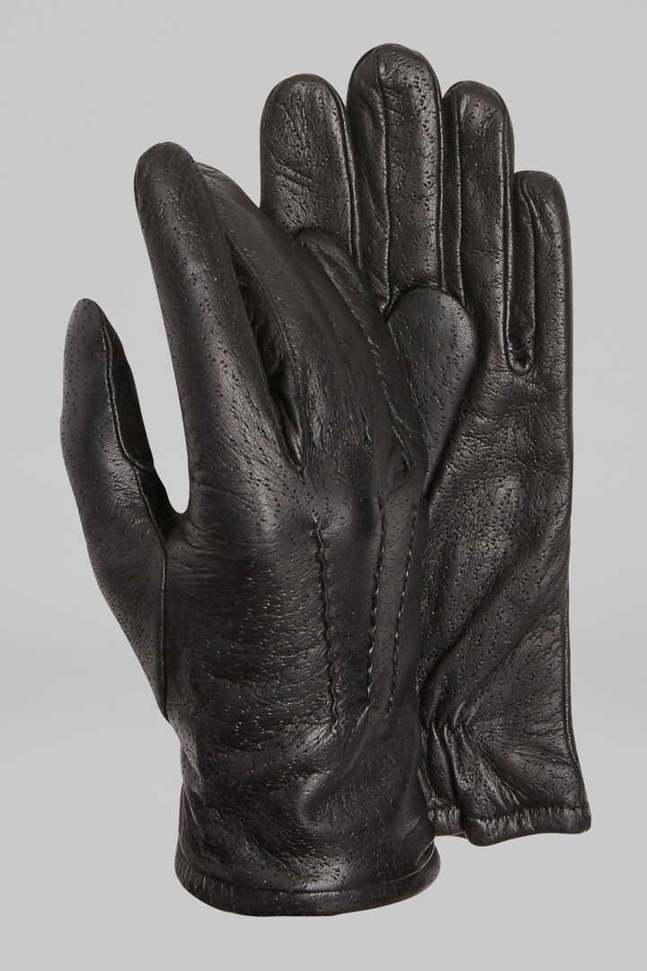 Peccary Print Leather Gloves, Black, hi-res