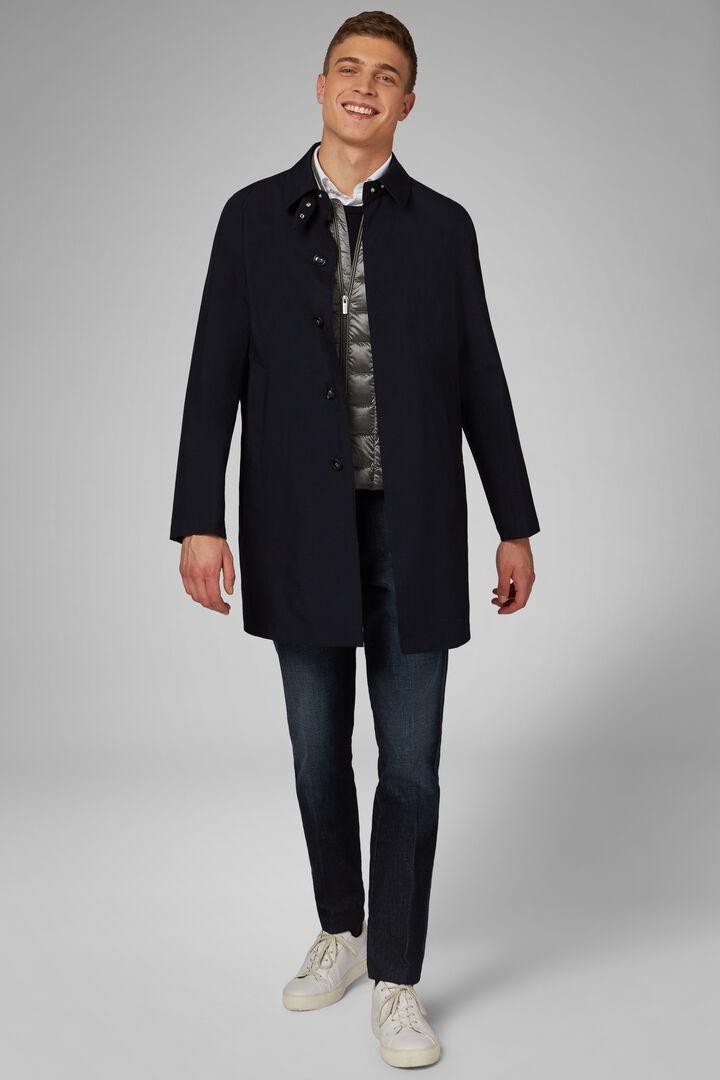 Three-Layered Technical Fabric Raincoat, Navy blue, hi-res
