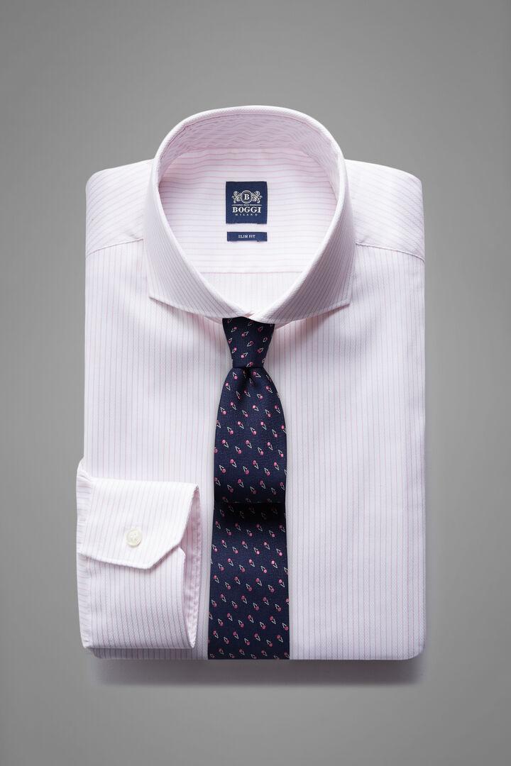 Hemd Mit Rosa Streifen Und Napoli-Kragen Slim Fit, Weiß - Pink, hi-res