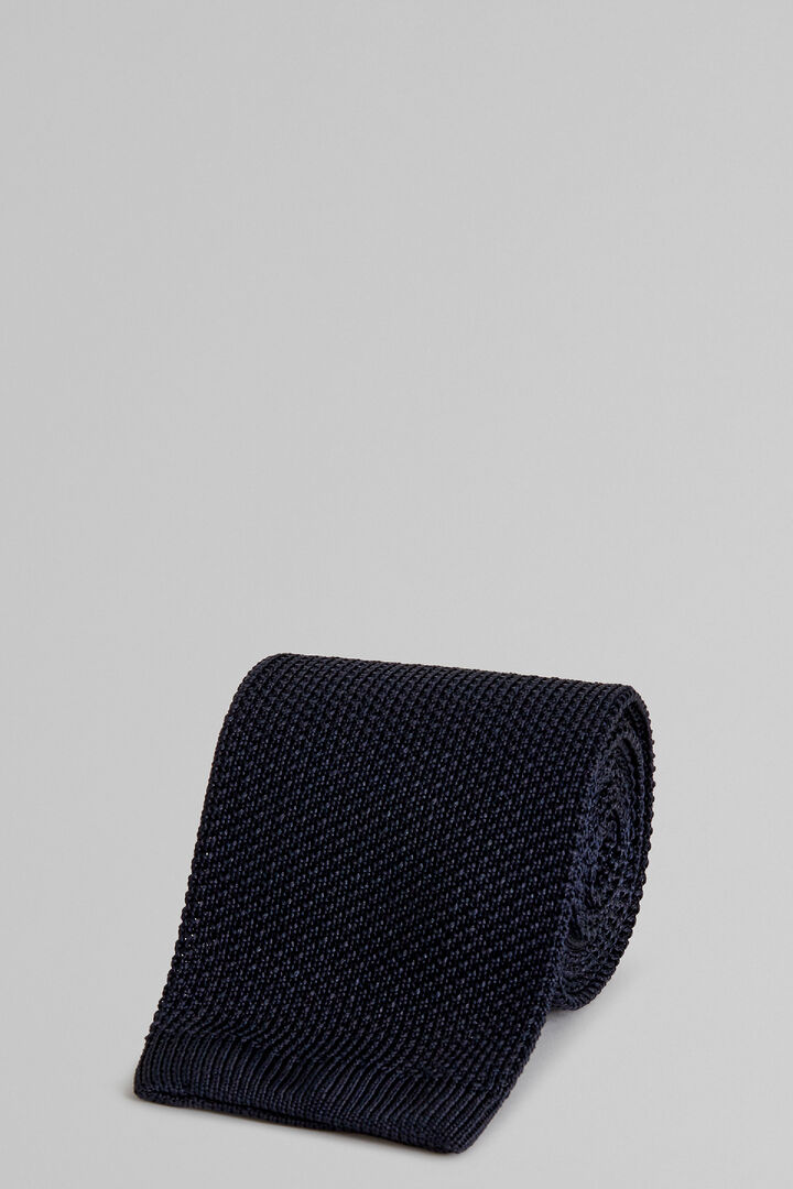 Blue Plain Knitted Silk Tie, Blue, hi-res