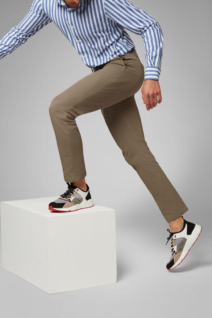 Pantalon En Nylon À Performance Technique Coupe Droite, TAUPE, hi-res