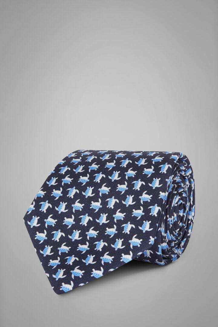 Turtle Print Silk Tie, Blue - Light blue, hi-res