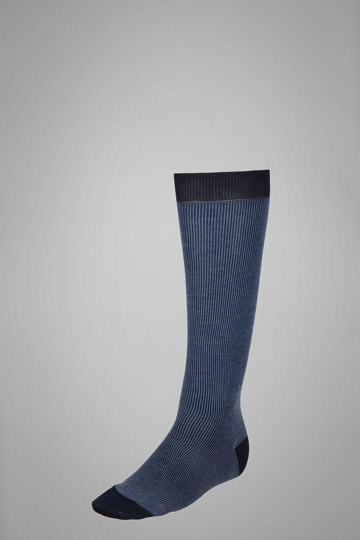 Calza Lunga Motivo Mille Righe, Navy - Azzurro, hi-res