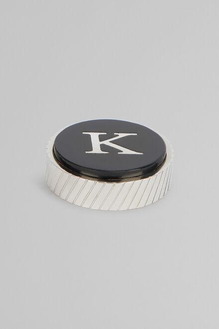 Metal Letter K Cufflinks, Black, hi-res
