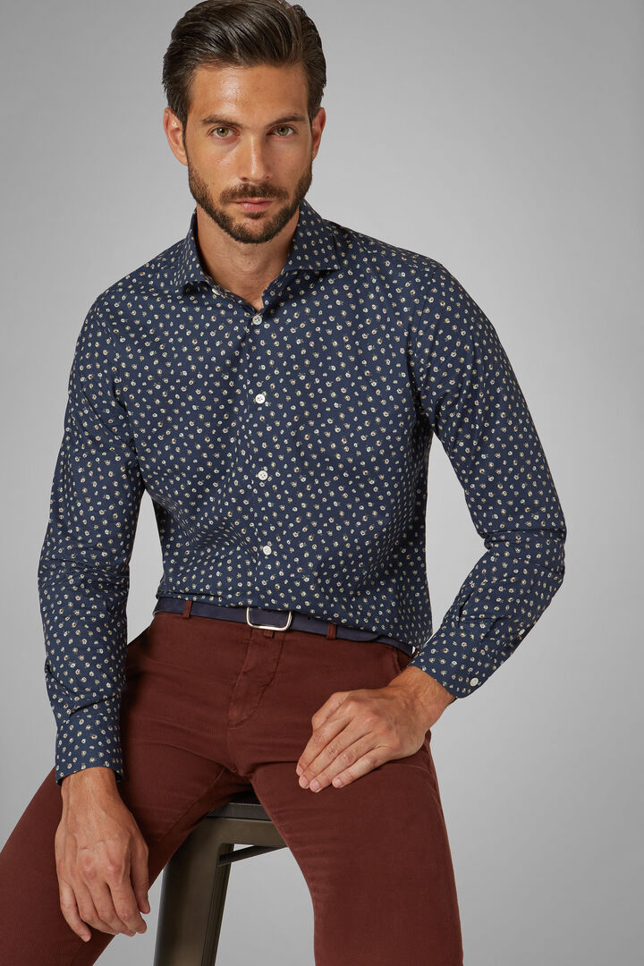 Slim Fit Pink Printed Shirt With Florence Collar, Navy blue, hi-res