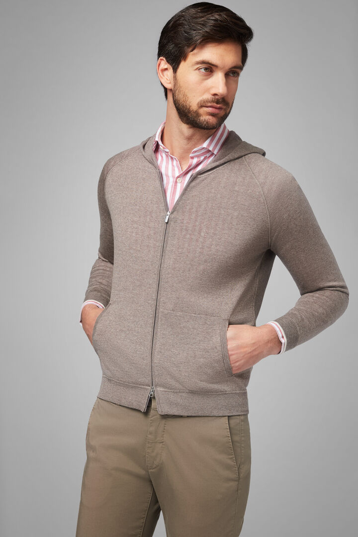 Merino Wool Full Zip Travel Jumper, Taupe (Turtle-dove), hi-res