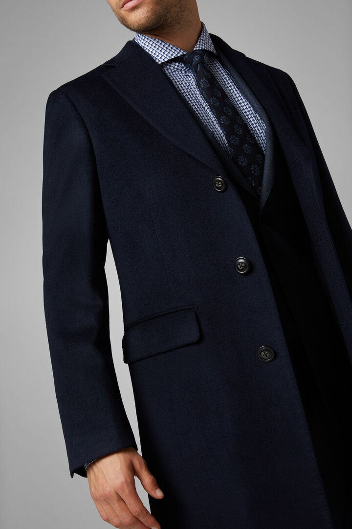 Cappotto Monopetto Misto Cashmere, Navy, hi-res