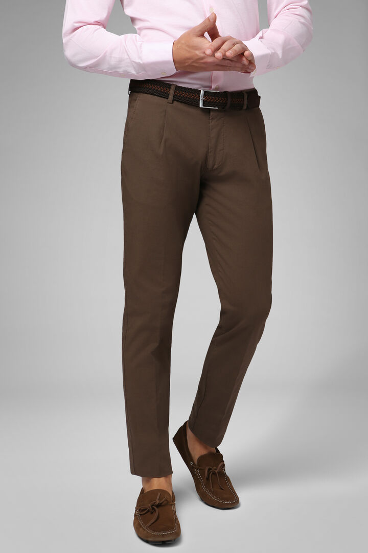 Slim Fit Stretch Cotton And Linen Trousers, Hazelnut, hi-res