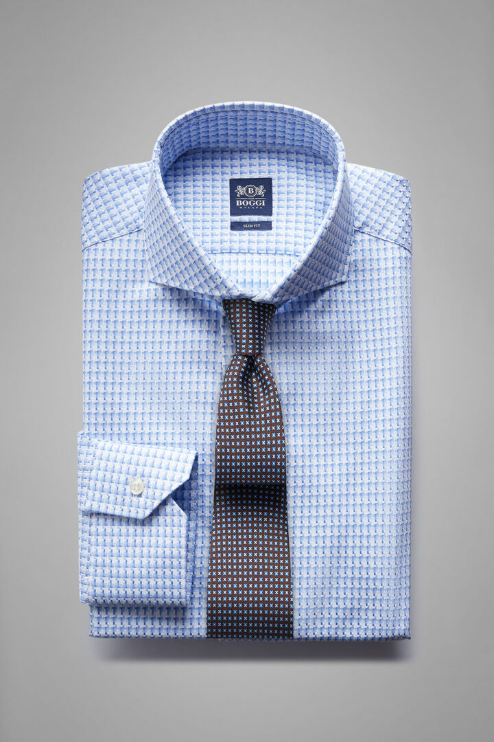 Slim Fit Sky Blue Shirt With Naples Collar, White - Light blue, hi-res