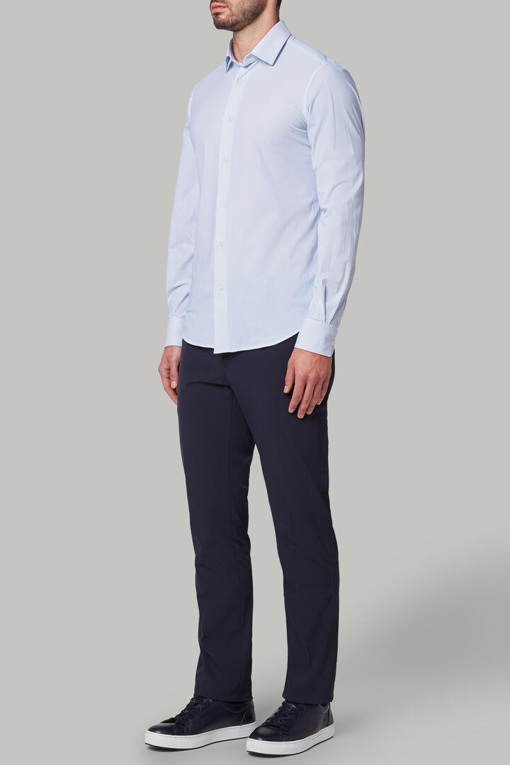 Slim Fit Sky Blue Printed Shirt With Tokyo Collar, Light blue, hi-res