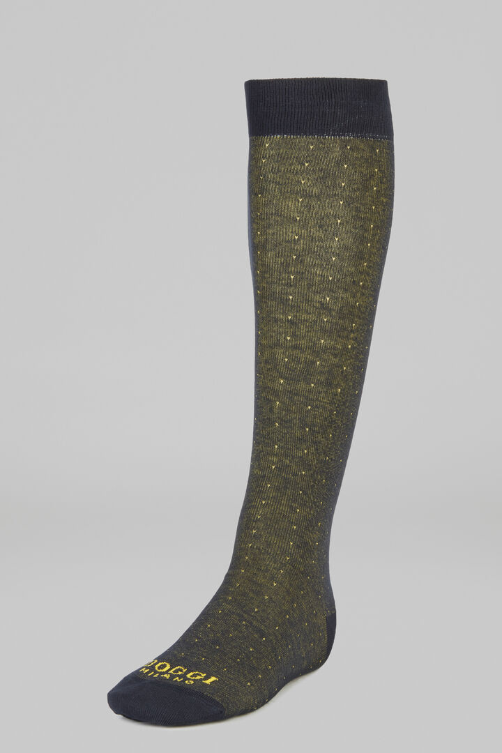 Micro Polka Dot Long Socks, Mustard, hi-res