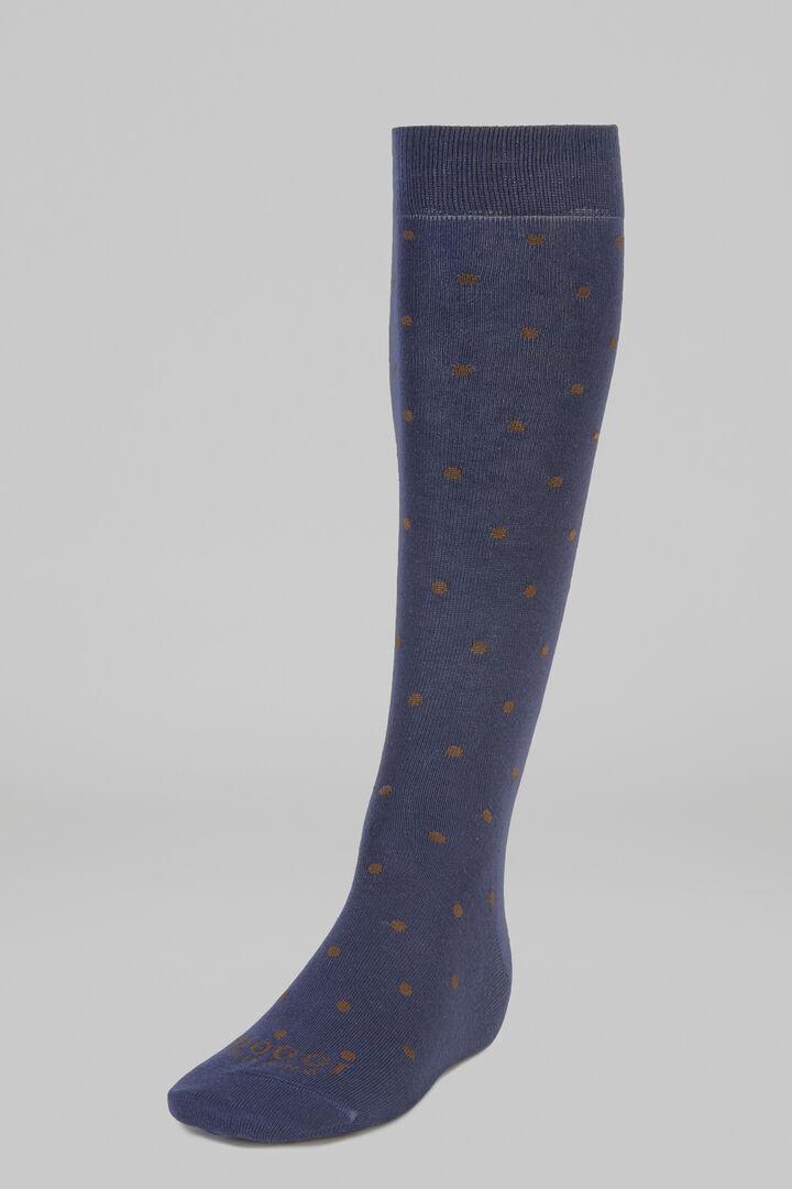 Polka Dot Long Socks, Blue - Brown, hi-res