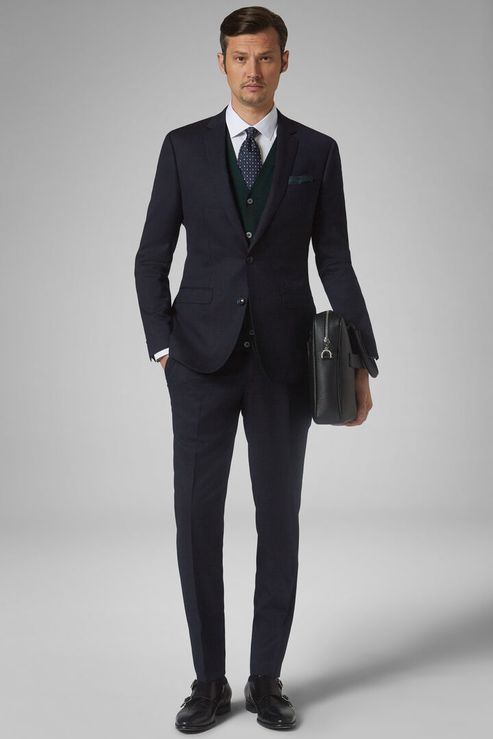 Blue Stretch Wool London Suit, Blue, hi-res