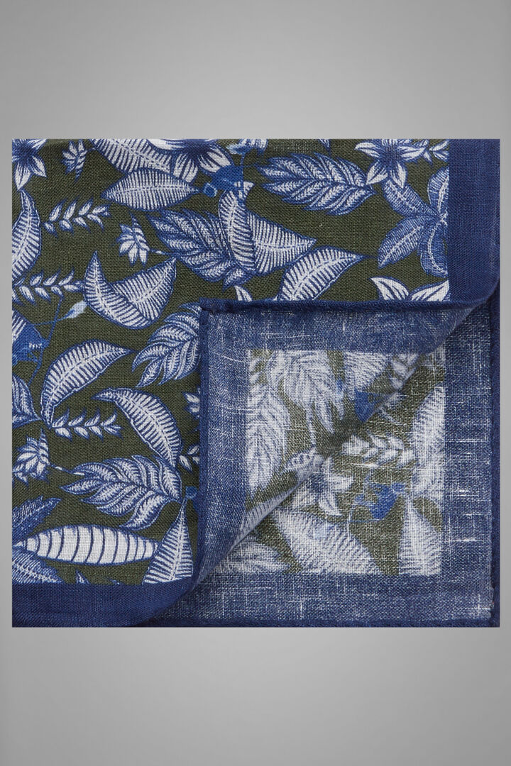 Floral Print Linen Pocket Square, Green, hi-res