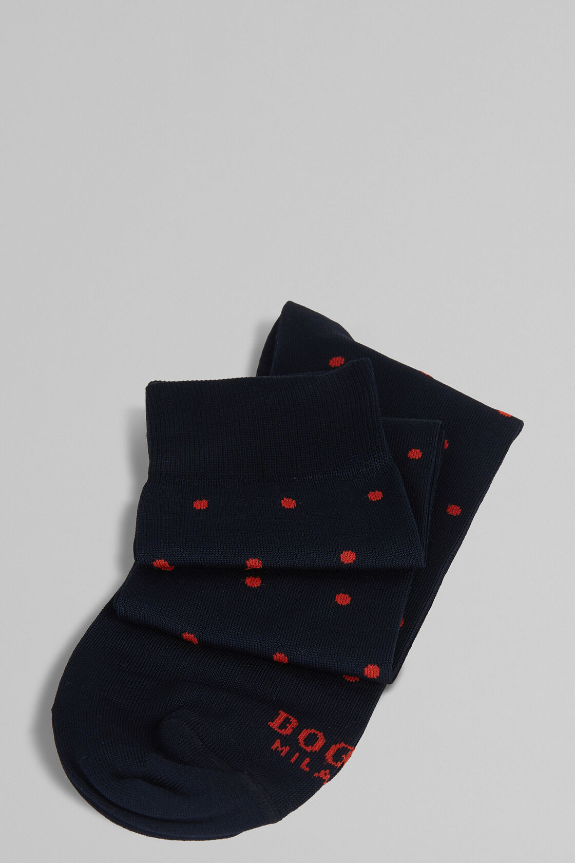 CALZA LUNGA IN COTONE STRETCH A POIS, NAVY - ROSSO, hi-res