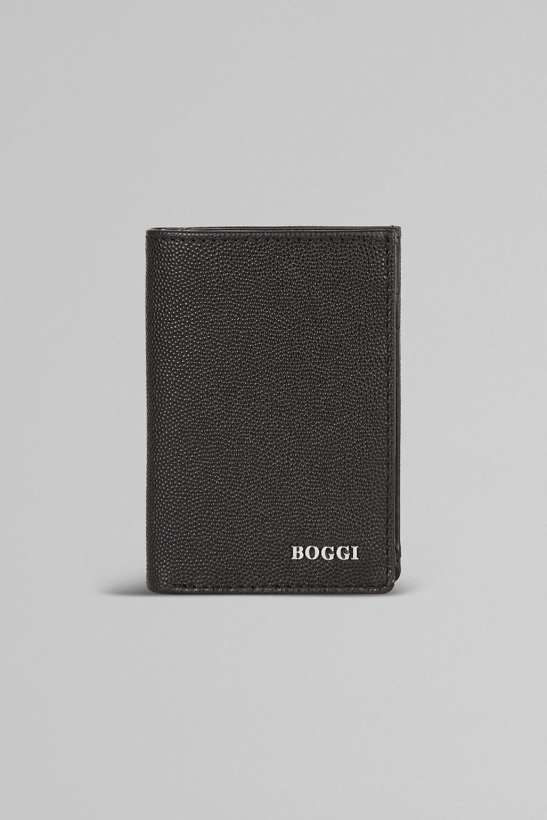 Kartenbörse Mit Buchschliesse Aus Kaviarleder, Schwarz, hi-res