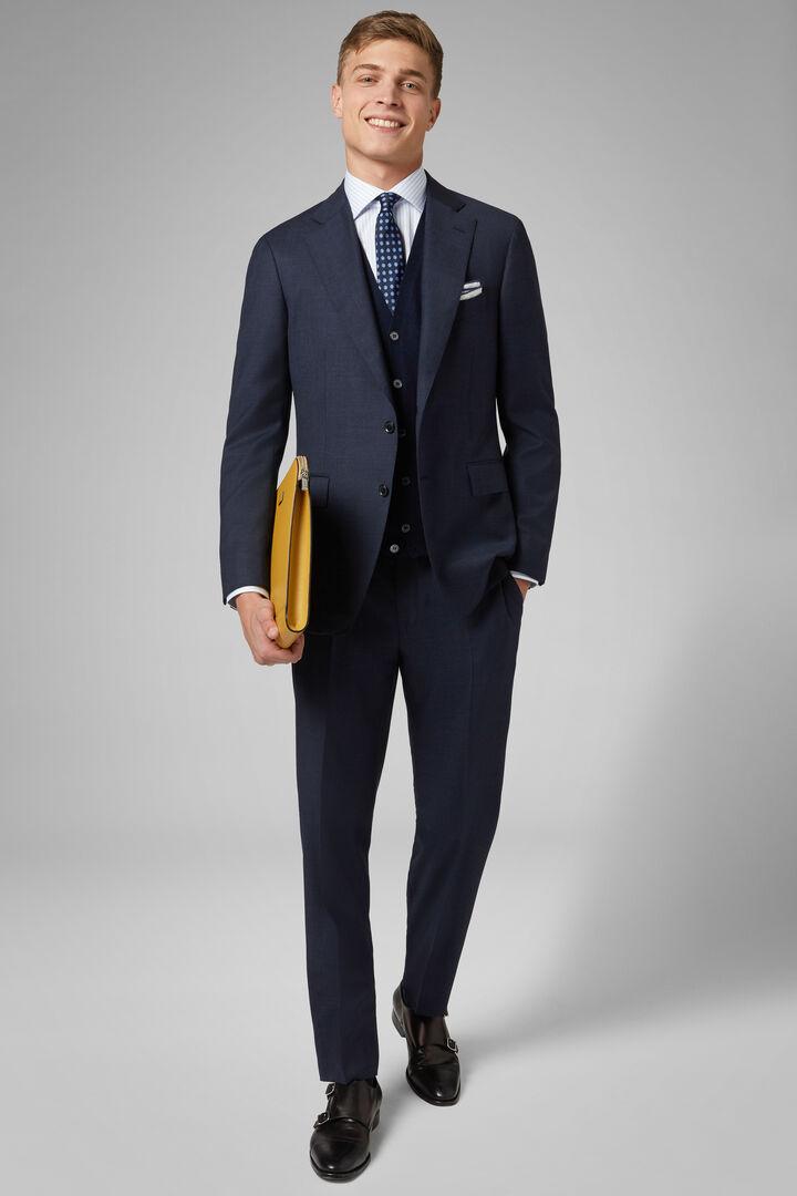 Blue Wool Napoli Suit, Blue, hi-res