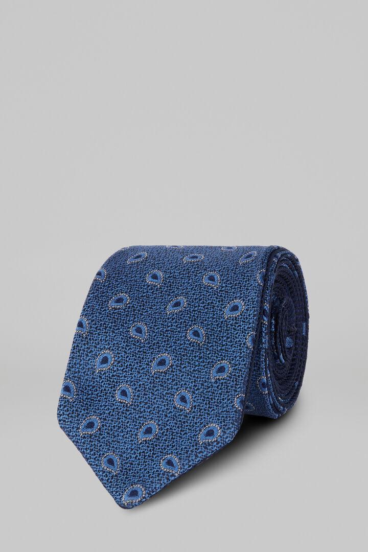 Cravatta Fantasia In Seta Jacquard Double Face, Azzurro - Blu, hi-res