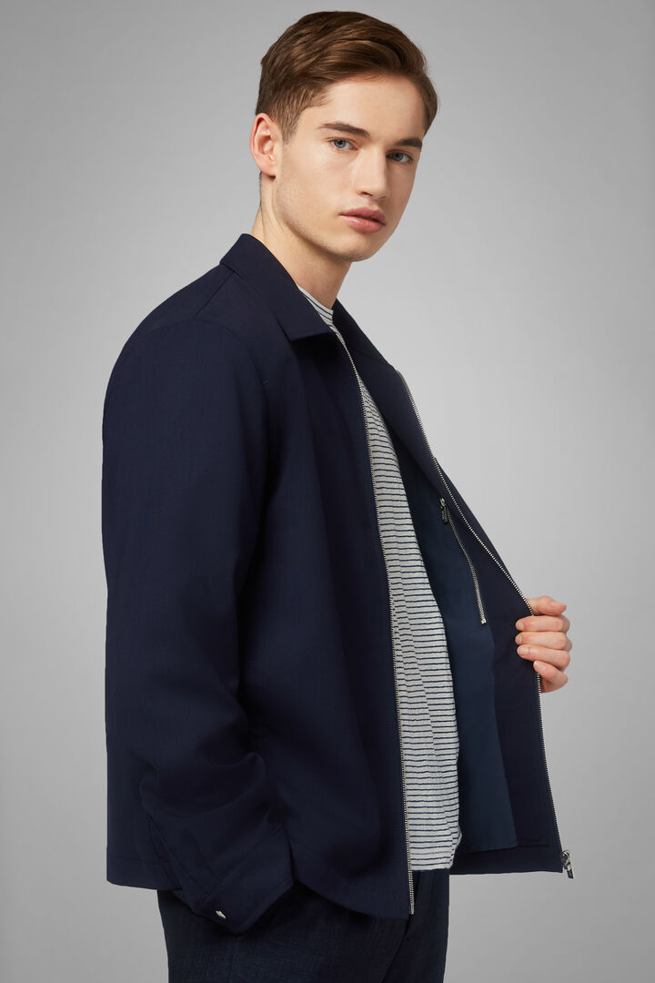 Shirt Jacket In Travel Wool, Navy blue, hi-res