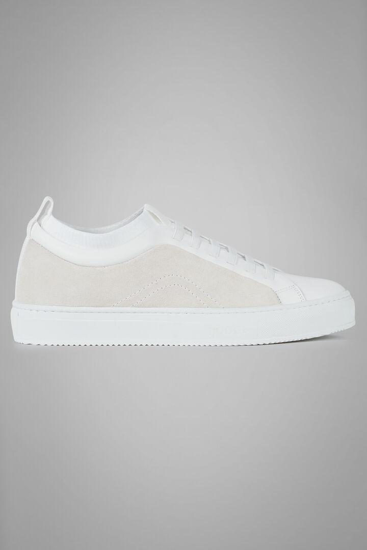 Sneaker Aus Wildleder Und Jersey, Weiß, hi-res