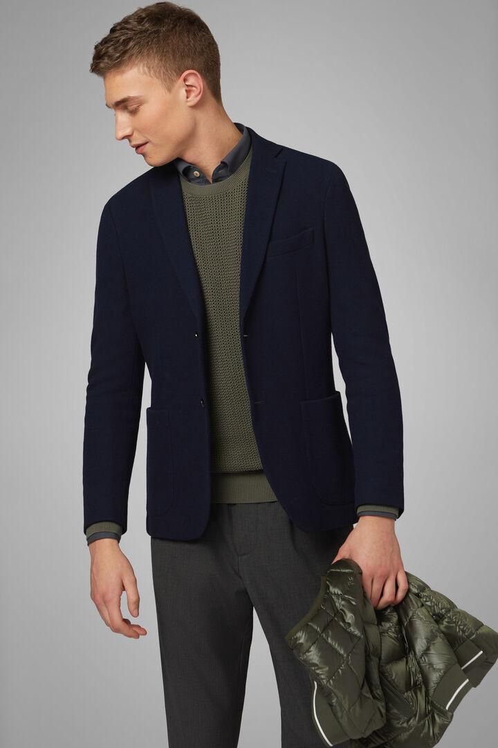 Blazer Navyblau Bari Aus Baumwoll-Crepe-Jersey, Navy blau, hi-res