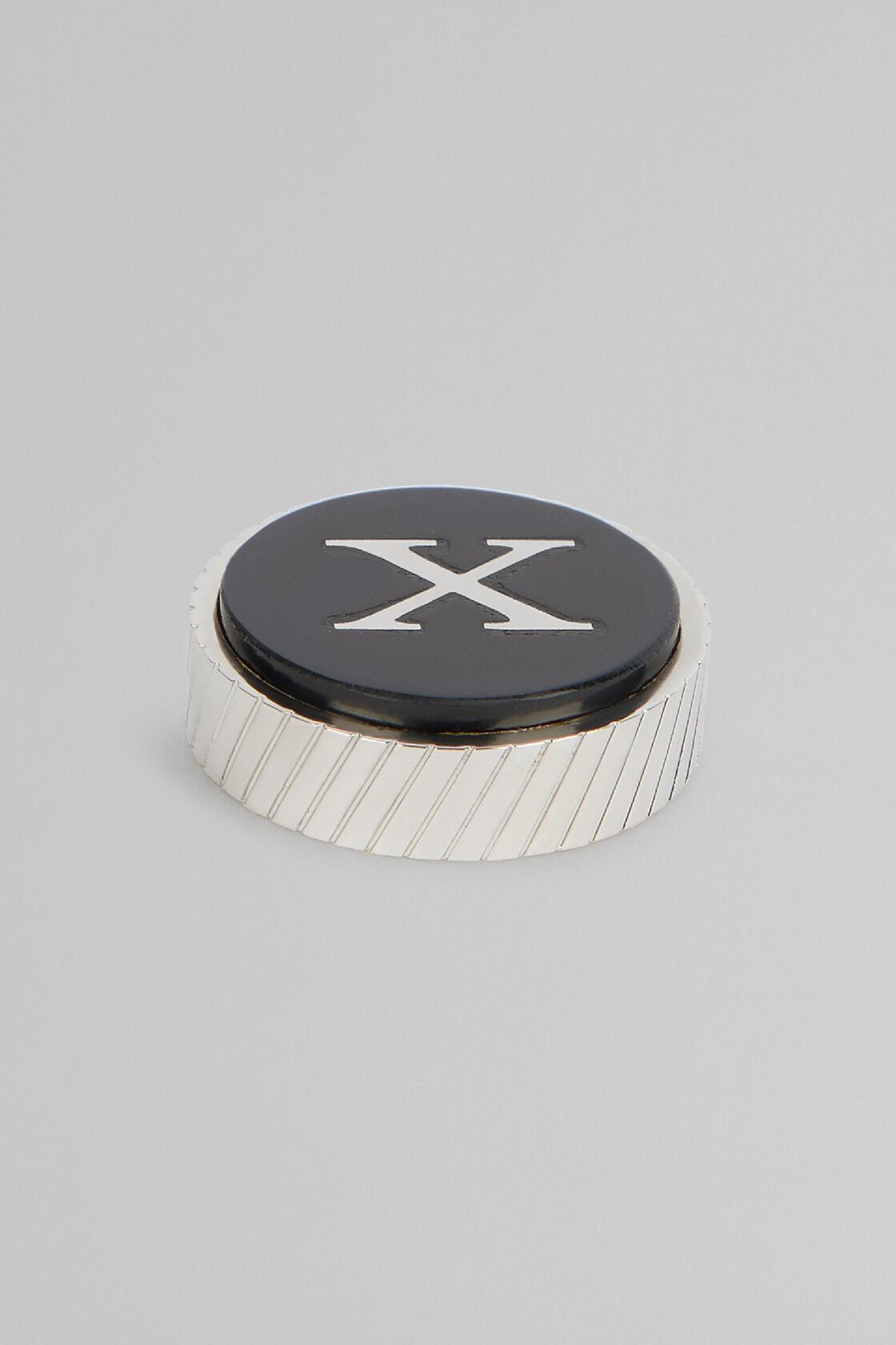 Metal Letter X Cufflinks, Black, hi-res