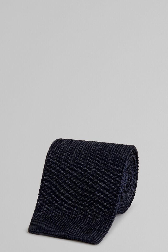 Blue Plain Knitted Silk Tie, , hi-res
