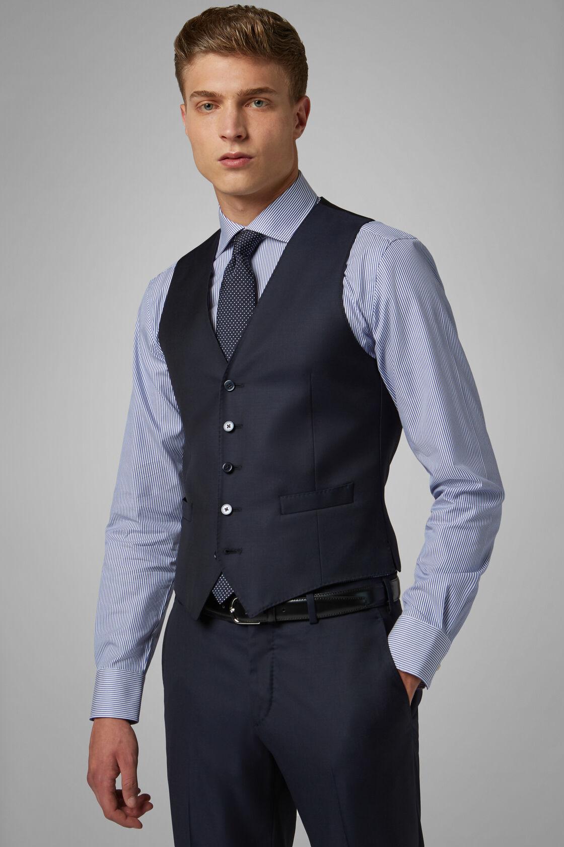 Anzugweste Navy Aus Wolle Regular Fit, Navy blau, hi-res