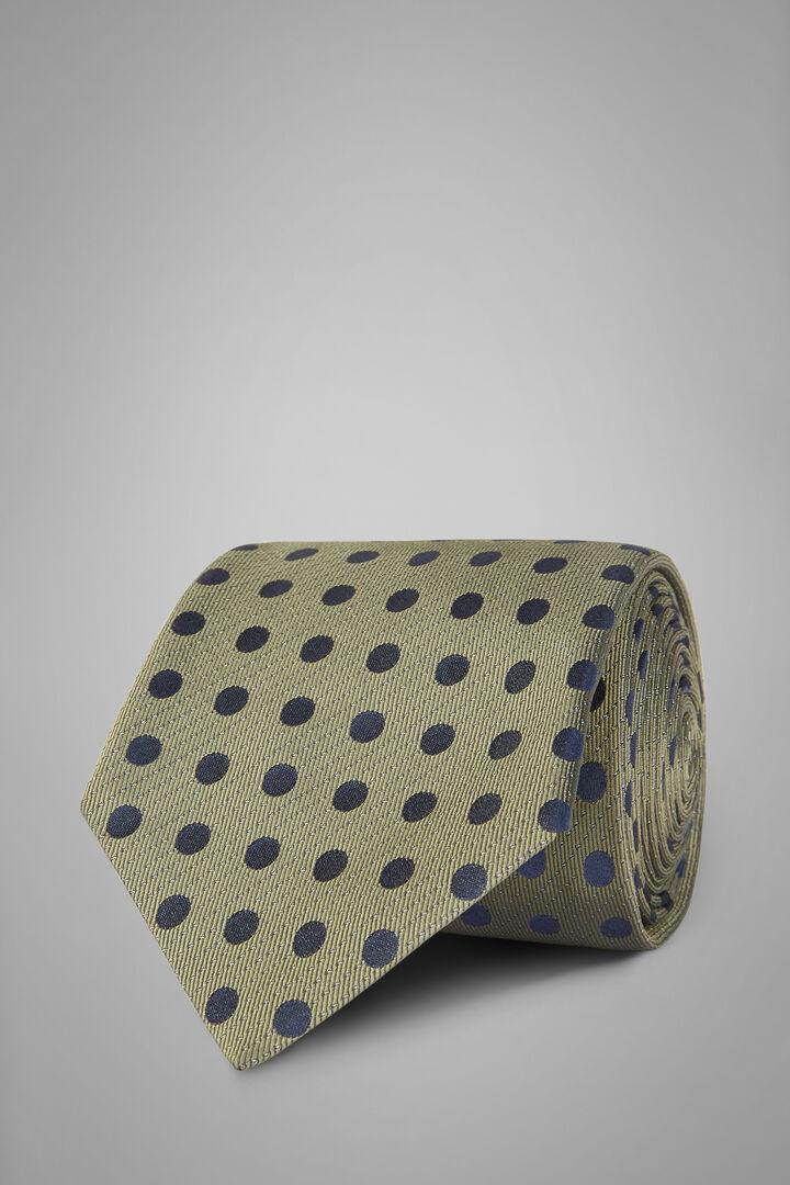 Gepunktete Krawatte Aus Seidenjacquard, Grün, hi-res