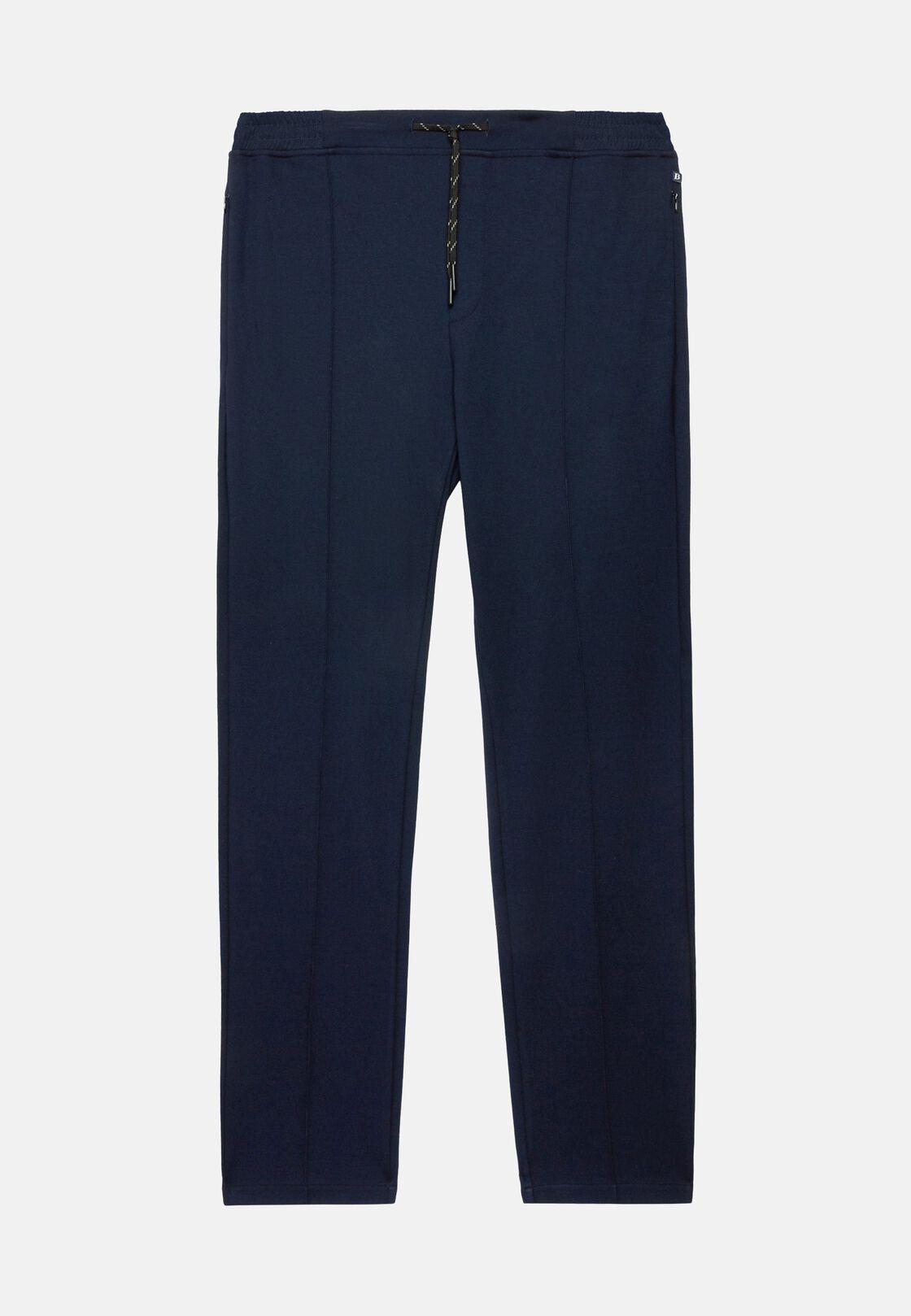 Pantaloni in interlock tecnico elasticizzato, Navy, hi-res