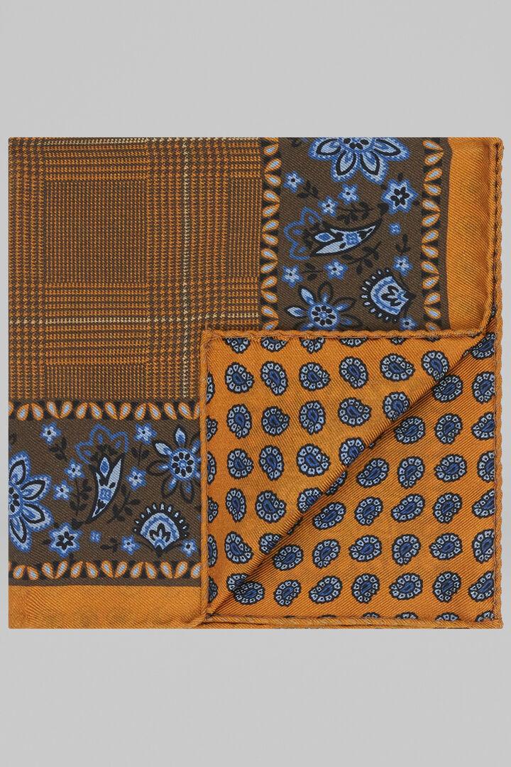 Pochette Fleur Et Cachemire Double Imprimé En Soie, Brown - Orange, hi-res